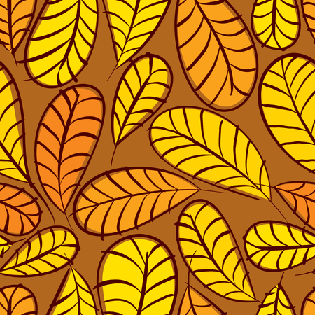 Autumn leaves seamless pattern, floral vector seamless background, hand drawn. Illustration