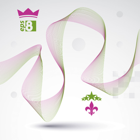 waved: Sophisticated 3d waved decoration, clear vector illustration, motif background with five stars element and crown symbol.
