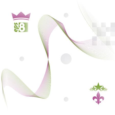 unwind: Dimensional motif elegant flowing curves, light background in motion with five stars emblem,  design backdrop.