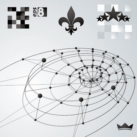 spatial: Geometric vector abstract 3D complicated lattice backdrop, single color  conceptual tech illustration.