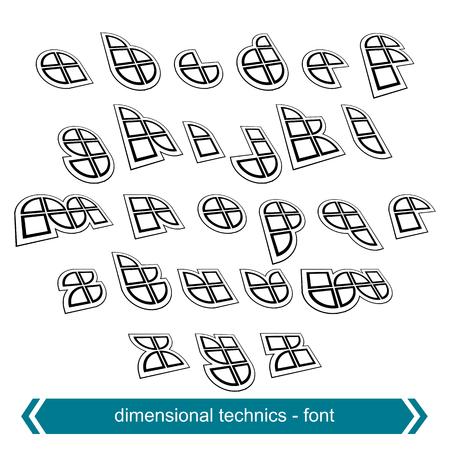verb: Peque�as cartas cambio dimensional con efecto de rotaci�n, los proyectos de caracteres geom�tricos creados a partir de segmentos y partes.
