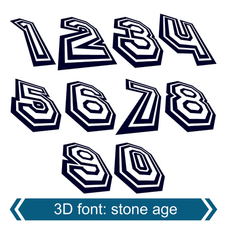 numeration: 3d retro numbers in rotation, stylish vector numeration design. Doodle black and white numbers.