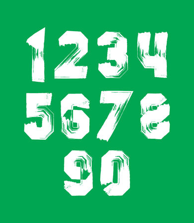 Modern watercolor brushed numbers set, hand-drawn white stylish numerals isolated on green background.  Vector