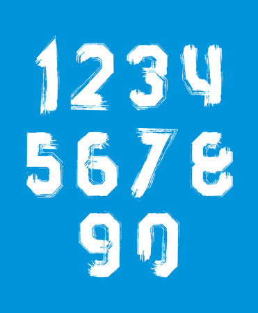 Freak white graffiti digits, set of vector unusual numbers drawn with real ink brush. Vector