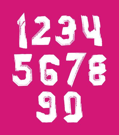 Stroked white numbers set drawn with real ink brush, vector over color numerals collection. Vector