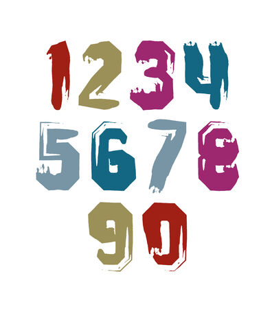 Hand drawn stroked numerals, collection of unusual childish watercolor numbers. Vector