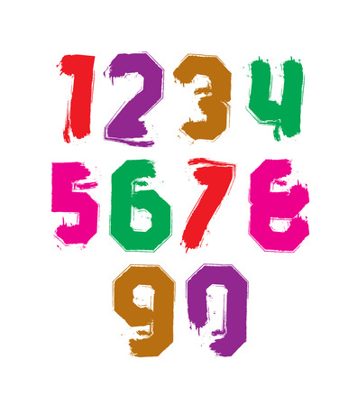 Hand drawn stroked numerals, collection of unusual watercolor numbers. Vector