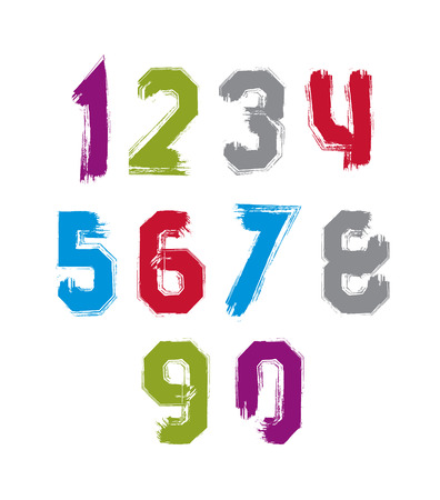 Freak colorful graffiti digits, set of vector unusual numbers drawn with real ink brush. Vector