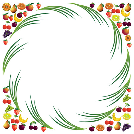 simplistic icon: Fruits abstract composition, different fruits icon set, vector food theme background,  vector illustration.