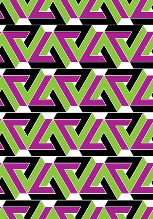 Futuristic decorative textured geometric seamless pattern with bright triangles. Vector multicolored stylized texture.