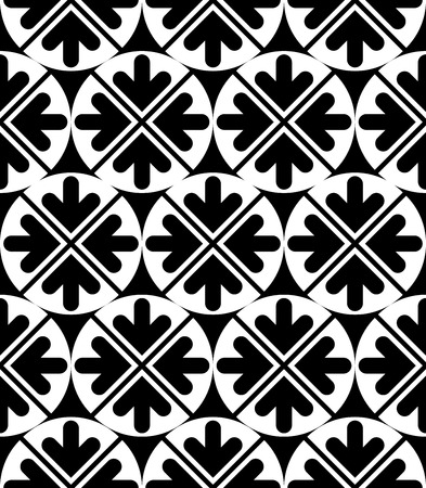 perpendicular: Vector geometric seamless pattern. Unusual black and white artistic composition with symmetric circles and arrows. Contrast continuous texture, best for graphic and web design.