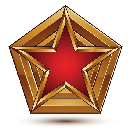 Branded golden geometric symbol, stylized star with red filling, heraldic vector refined icon isolated on white background. Polished golden frame with a pentagonal star.