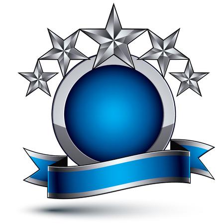 estrellas cinco puntas: Her�ldico azul brillante 3D y el icono de color gris - se pueden usar en dise�o web y gr�fico, estrellas plateadas de cinco puntas colocadas sobre magn�fico elemento redondeado con cinta elegante.