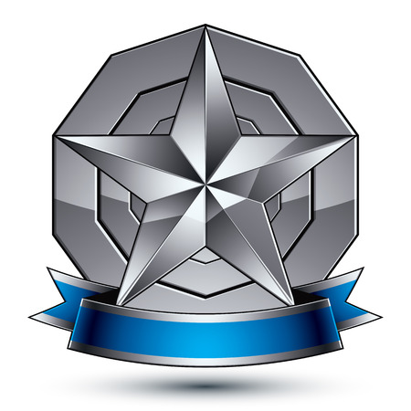 argent: Heraldic 3d glossy blue and gray icon - can be used in web and graphic design, five-pointed silver star placed over rounded magnificent element with elegant ribbon. Illustration