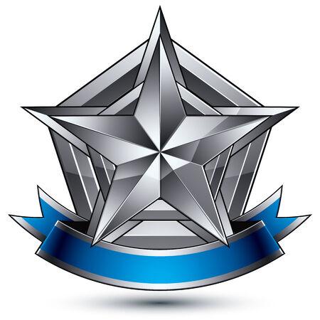 glorioso: Vector glorioso elemento brilhante design, luxo 3d estrela de prata pentagonal, modelo gr�fico complicado conceptual escudo com tira festivo, EPS claras 8 decorativo medalh�o. Tema Protection.