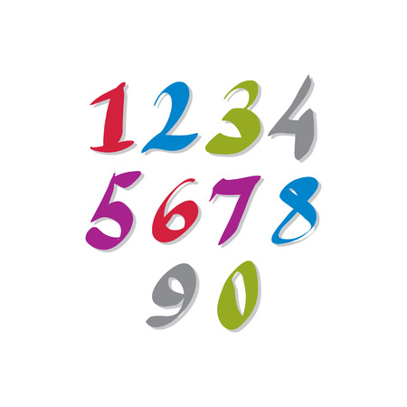estimating: Hand written colorful vector numbers, stylish drawn numbers set.