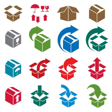 Delivery: Packaging boxes icons isolated on white background vector set, pack simplistic symbols vector collections.