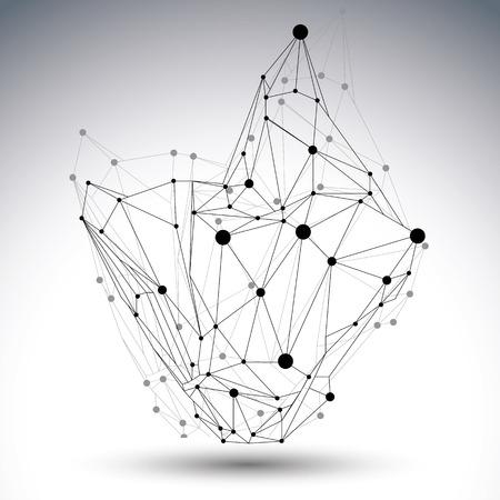 3D-vector abstract ontwerp sjabloon, veelhoekige ingewikkelde contrast figuur met lijnen mesh en stippen op een witte achtergrond.