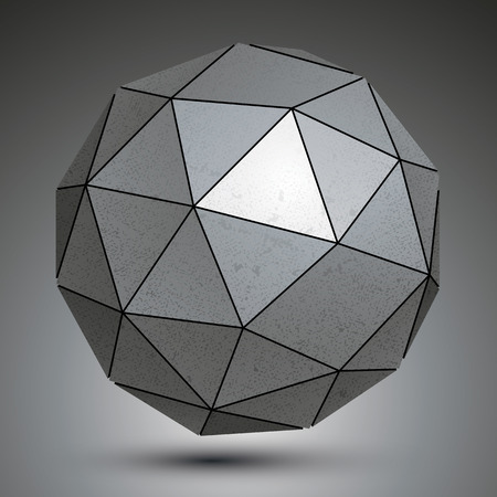 facet: Galvanized facet 3d sphere, metal abstract object.