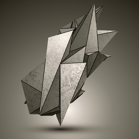 cybernetic: Asymmetric peak technology metallic object, complicated cybernetic element with different geometric figures.