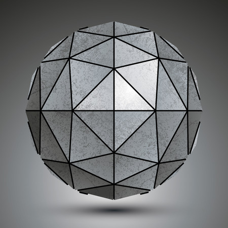 3d dimensional: Grayscale galvanized 3d sphere created with triangles, grunge abstract dimensional object.