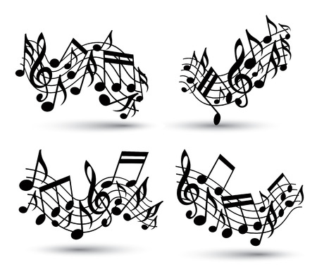Vector black jolly wavy staves with musical notes on white background, decorative set of musical notation symbols. Vector