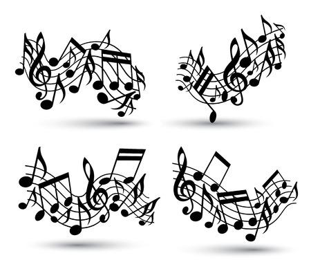 letras musicales: Vector negro duelas onduladas alegres con las notas musicales sobre fondo blanco, decorativo conjunto de símbolos de notación musical. Vectores