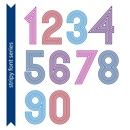 ordinary: Ordinary geometric numbers created from parallel straight lines. Graphic vector stylish numeration, poster digit sequence.