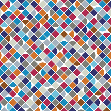 covering cells: Vector colorful geometric background, squared bright abstract seamless pattern.