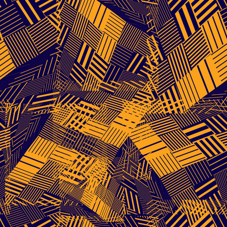 Colorful rhythmic textured endless pattern, bright continuous grunge geometric background. Vector