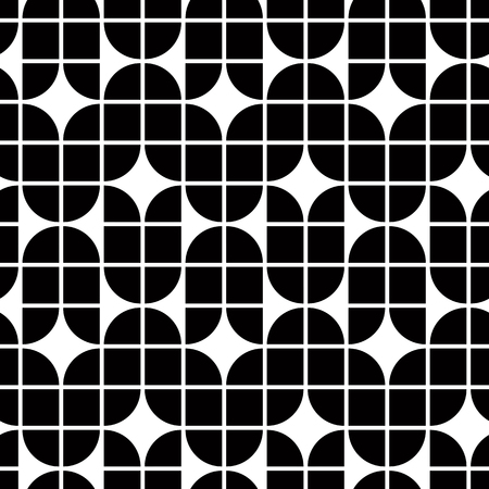 elliptic: Black and white geometric abstract seamless pattern, contrast regular background. Illustration