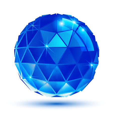 radiance: Bright plastic radiance 3d eps10 spherical object with sparkles created from triangles. Pixilated shiny globe. Illustration