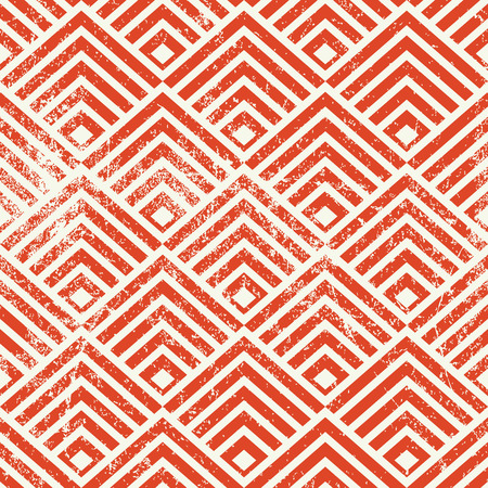 simplistic: Vintage geometric seamless pattern, vector repeat background with aged grunge texture.