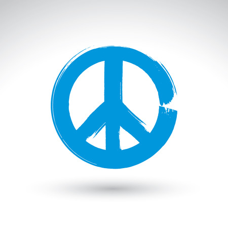 reconciliation: Hand drawn simple vector peace icon, brush drawing blue realistic peace symbol from 60s, hand-painted hippy sign isolated on white background. Illustration