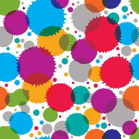 Colorful vector ink splash seamless pattern with rounded overlap circles, bright graphic art repeat backdrop with overlap acrylic spots, scanned and traced. Vector