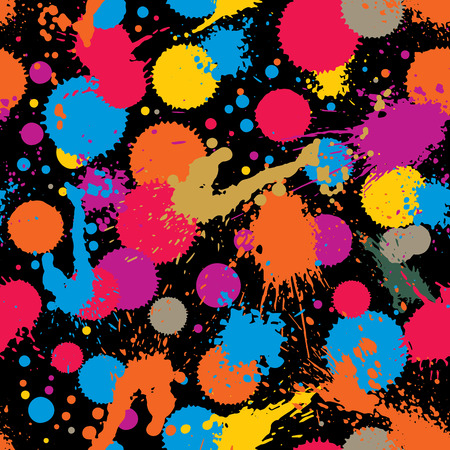 traced: Vector ink splash seamless pattern with rounded overlap shapes, expressive graphic art repeat backdrop with overlap acrylic spots, scanned and traced.