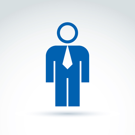 Silhouette of person standing in front - vector illustration of an office manager.  Delegate, consultant, white-collar worker.
