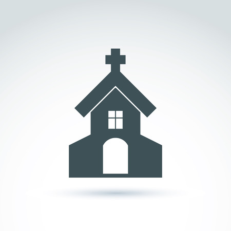 frontage: Christian church with a cross. Vector illustration of a temple, religion concept.