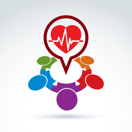 pulsating: Cardiology medical and society cardiogram heart beat icon, medical organization, medical fund, vector conceptual special icon for your design.