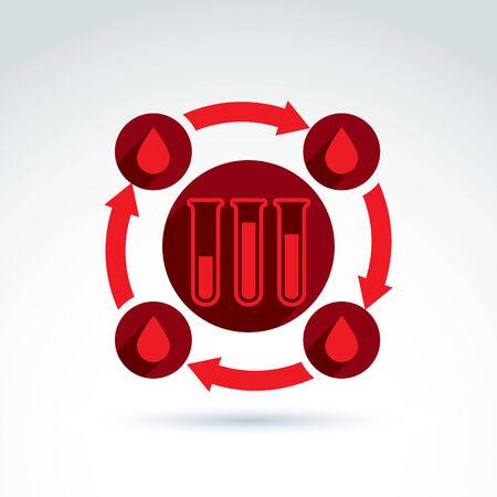 donor: La sangre de los donantes y el icono Sistema circulatorio, tubo de ensayo, virus, epidemia, vector s�mbolo de estilo conceptual para su dise�o.