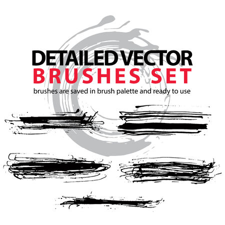 daub: Collection of ink hand drawn brushes scanned and traced in highest quality, ragged realistic daub brushstrokes.