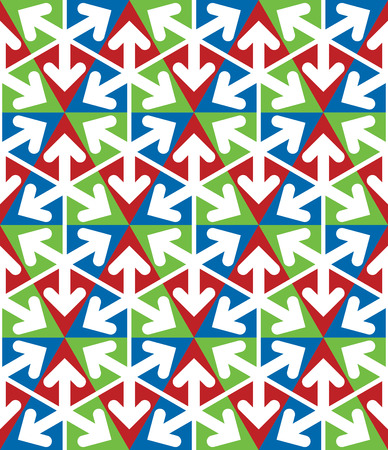 extraordinary: Bright extraordinary geometric seamless pattern with triangles and arrows. Vivid continuous texture, best for graphic and web design. Illustration