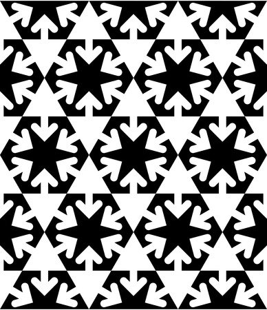 Black and white symmetric textured geometric seamless pattern. Vector contrast textile backdrop with arrows and triangles. Hexagon graphic contemporary covering. Vector