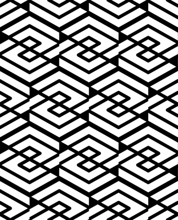 parallelogram: Geometric seamless pattern with parallel lines and geometric elements, infinite decorative textile, abstract vector textured covering. Intertwine black and white illustration. Illustration