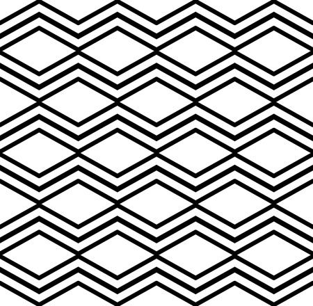 Contrast light geometric seamless pattern with symmetric ornament. Rhombus graphic contemporary background. Splice black and white continuous backdrop. Illustration