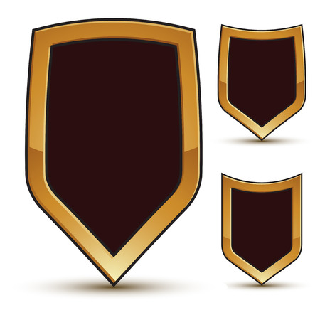 renown: Renown vector black shield shape emblems with golden borders, 3d polygonal design elements