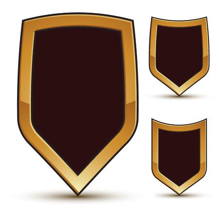 renown: Renown vector black shield shape emblems with golden borders, 3d polygonal design elements