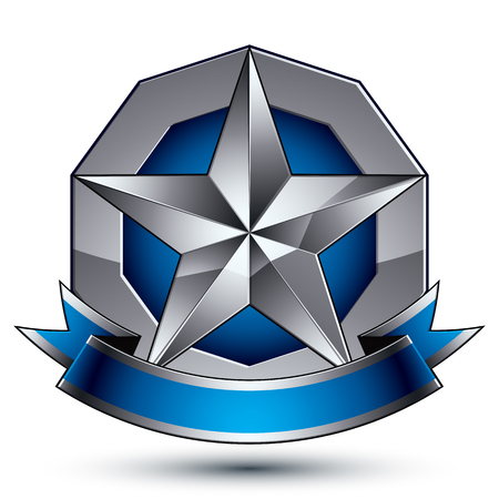 Sophisticated vector emblem with silver glossy star and blue wavy ribbon, 3d decorative design element Illustration