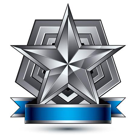 glorioso: Vector glorioso elemento brilhante design, luxo 3d estrela de prata pentagonal, modelo gr�fico complicado conceptual escudo com medalh�o stripdecorative festivo. Tema Protection.