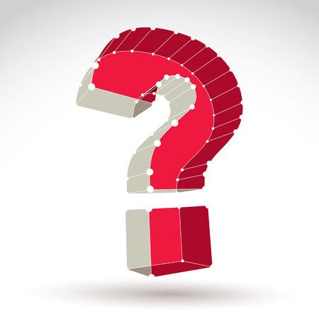 punctuation mark: 3D Mesh elegante signo de interrogaci�n web aislados sobre fondo blanco, colorido icono de consulta de la canal, dimensiones boceto marca de puntuacion tecnolog�a con l�neas blancas conectadas Vectores